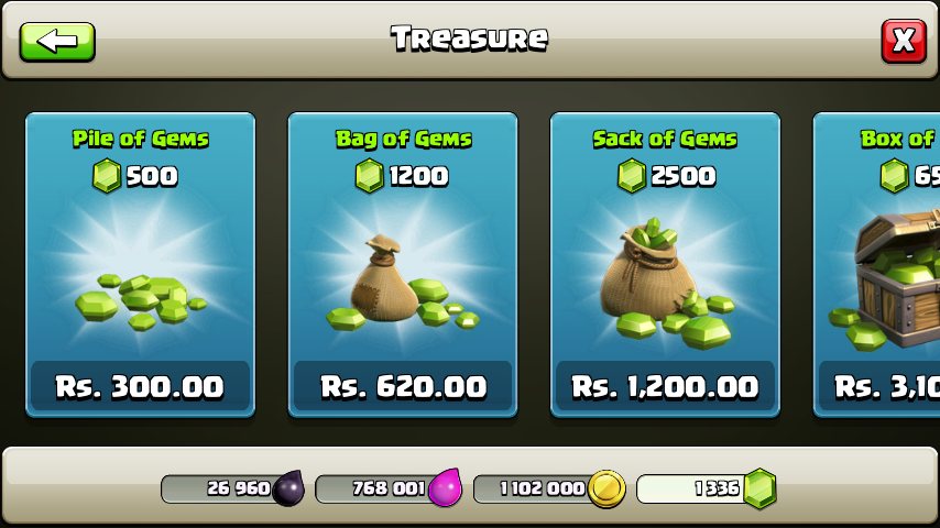 clash of clans gems pack